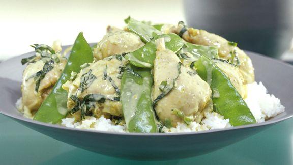Rezept: Kokosmilch-Ente mit Zuckerschoten, dazu Reis
