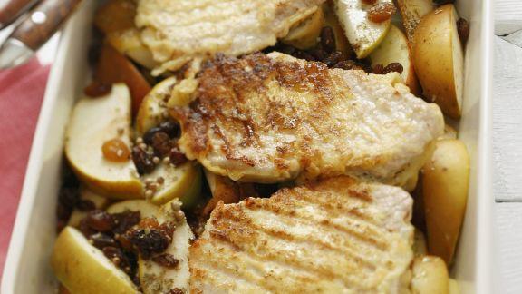 Rezept: Kotelett mit Apfel und Sultaninen