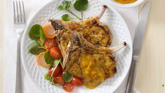 Rezept: Koteletts vom Schwein mit Aprikosencreme und Kartoffelbrei
