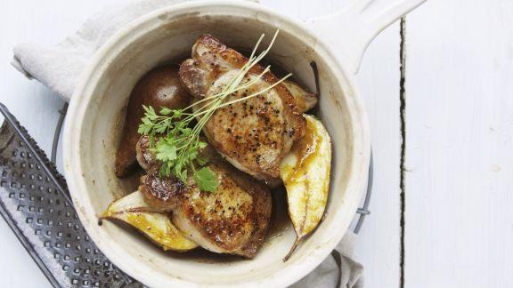 Rezept: Koteletts vom Schwein mit Birne