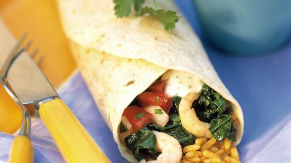 Rezept: Krabben-Wrap mit Reis dazu Salsa