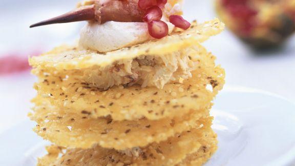 Rezept: Krabbenfleisch mit Frischkäse und Knabberkeksen