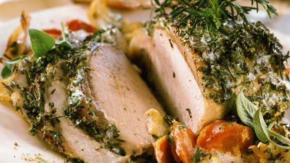 Rezept: Kräuter-Schweinebraten auf französische Art