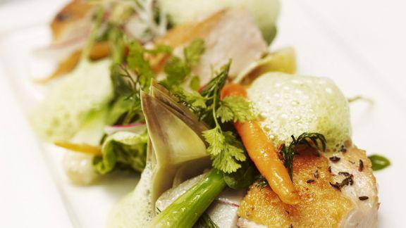 Rezept: Kräuterhühnchen mit gemischtem Gemüse und luftiger Soße