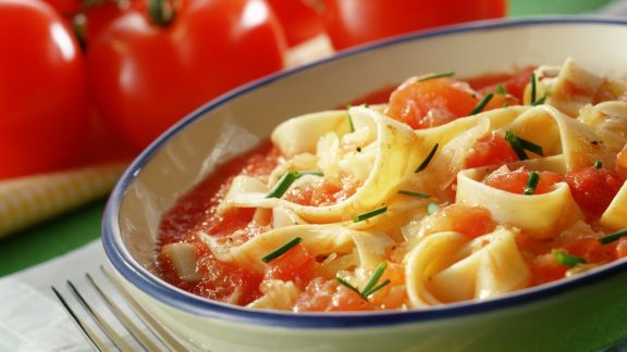 Rezept: Krautpasta mit Tomatensoße