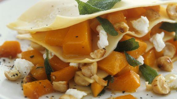 Rezept: Kürbis-Lasagne mit Ziegenkäse
