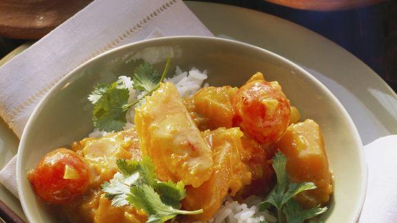 Rezept: Kürbis-Tomaten-Curry mit Reis
