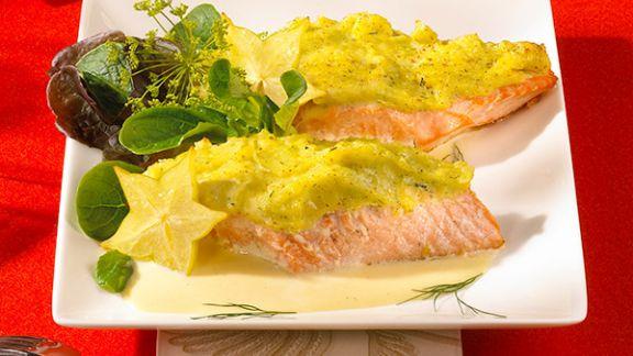 Rezept: Lachs mit Kartoffelhaube