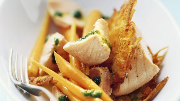 Rezept: Lachs mit Möhren und Bärlauchöl