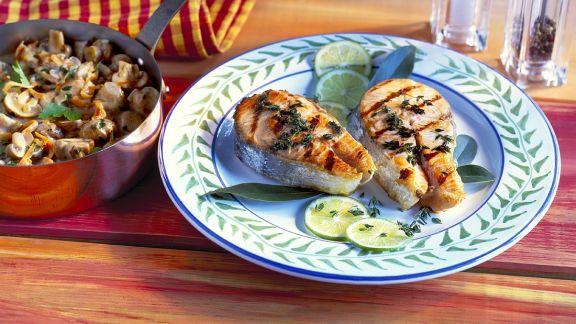 Rezept: Lachs mit Pilzragout