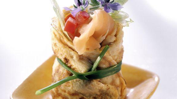 Rezept: Lachs-Omelett-Röllchen