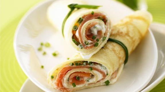Rezept: Lachs-Pfannkuchen-Rollen