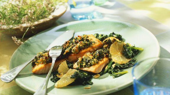 Rezept: Lachsfilet mit Spinat
