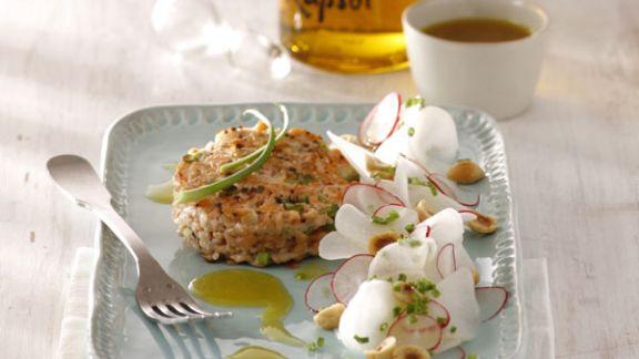Rezept: Tatar von der Lachsforelle mit Senföl und Rettich-Salat