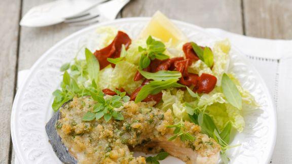 Rezept: Lachssteak mit Kräuterpanade