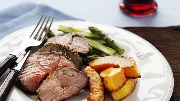 Rezept: Lamm mit Kürbis und grünem Spargel