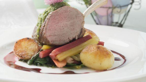 Rezept: Lammchops auf Gemüse