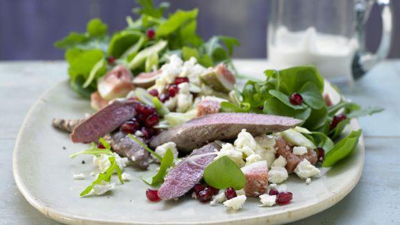 Rezept: Lammfilet auf Portulak-Rucola-Salat