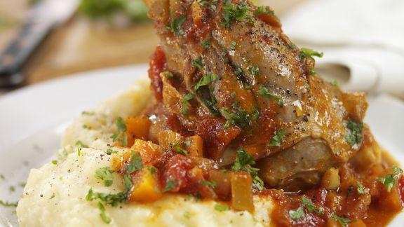 Rezept: Lammkeule mit Gemüse und Püree