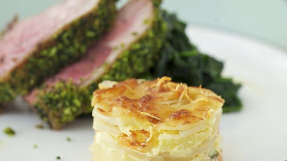 Rezept: Lammkoteletts mit Kartoffelauflauf