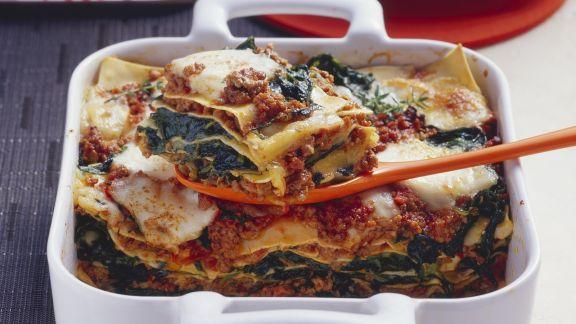Rezept: Lasagne mit Hackfleisch und Spinat