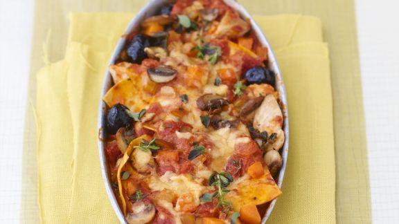 Rezept: Lasagne mit Hähnchen, Provolone-Käse und Oliven