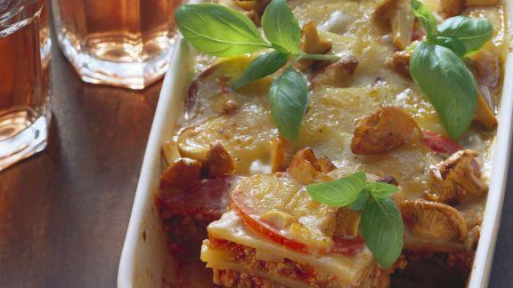 Rezept: Lasagne mit Kartoffeln und Pfifferlingen