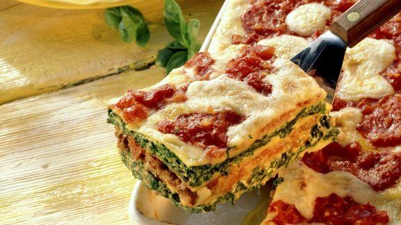 Rezept: Lasagne mit Spinat-Hackfleisch-Füllung
