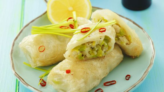 Rezept: Lauch-Fisch-Röllchen aus Reispapier