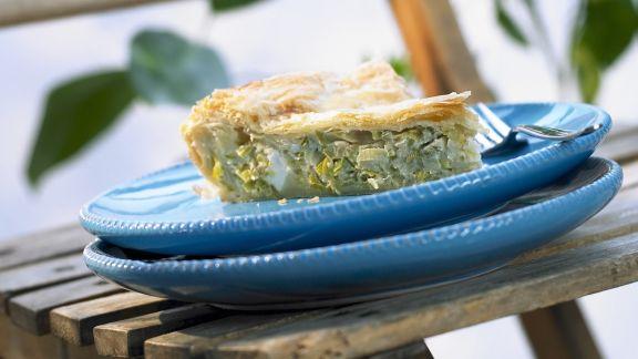 Rezept: Lauchkuchen mit Feta auf griechische Art