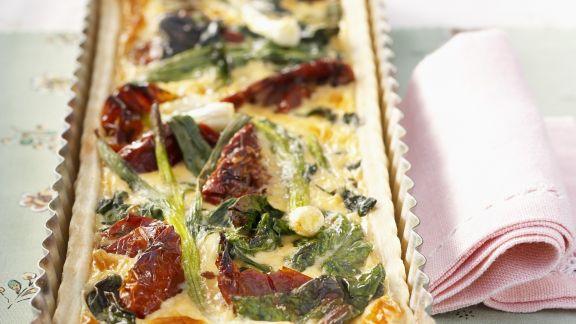 Rezept: Lauchkuchen mit getrockneten Tomaten