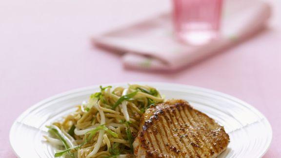 Rezept: Lendensteak vom Grill mit Pastasalat