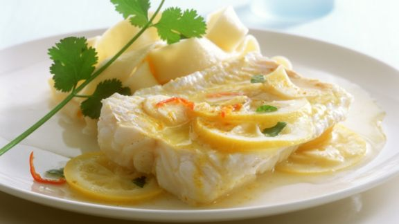 Rezept: Lengfischfilet mit Zitronensauce