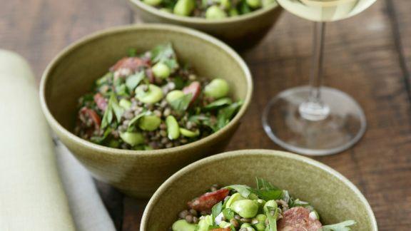 Rezept: Linsen-Bohnen-Salat mit scharfer Wurst (Chorizo)