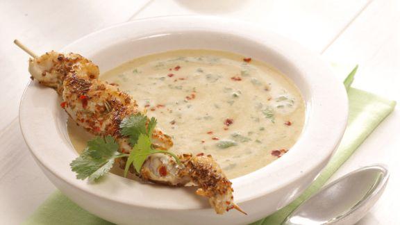Rezept: Linsen-Currysuppe mit Red-Snapper-Spieß