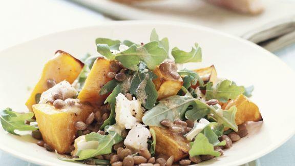 Rezept: Linsen-Kürbis-Salat mit Ziegenkäse