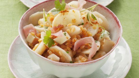 Rezept: Linsen-Schinken-Salat mit Petersilienwurzeln