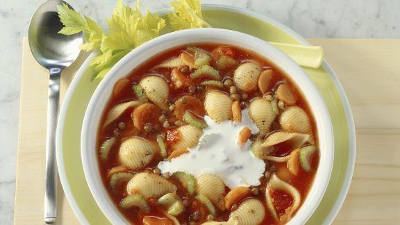 Rezept: Linsen-Tomatensuppe