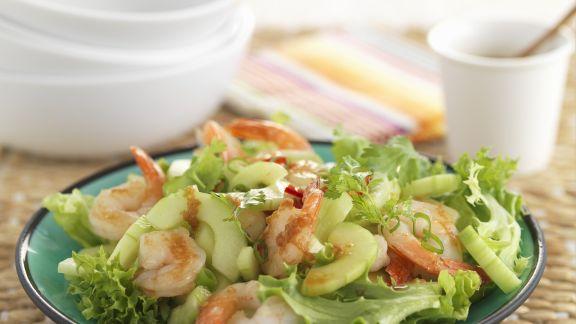 Rezept: Lollo Biondo mit Gambas und Salatgurke