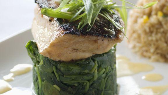 Rezept: Loup de mer auf Spinat