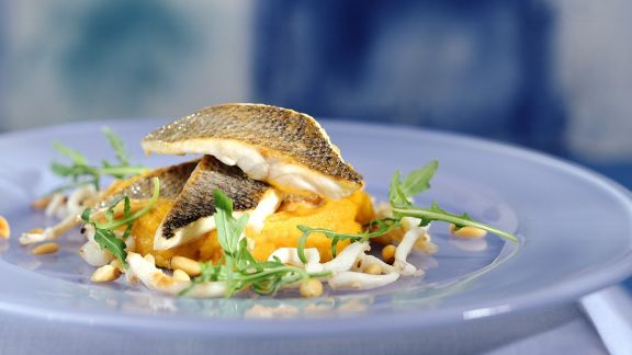 Rezept: Loup de mer mit Karoffel-Kürbispüree