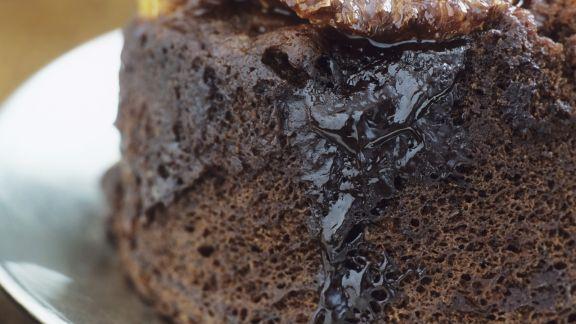 Rezept: Luftiger Schokoladenpudding nach englischer Art mit Orangen