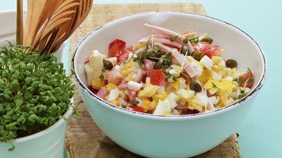Rezept: Mais-Eier-Salat mit Schinken
