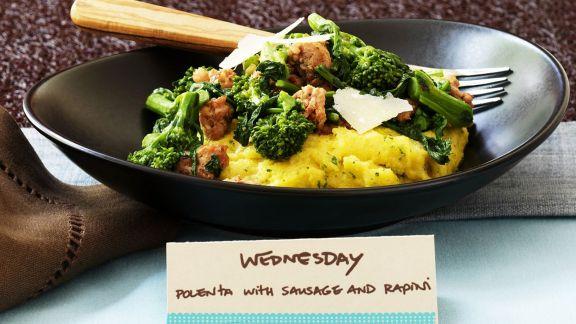 Rezept: Maisbrei mit Broccoli und Wurst