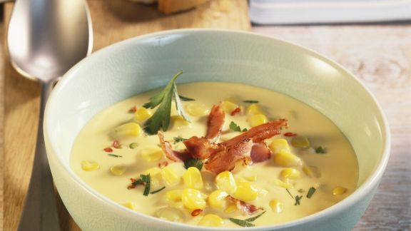 Rezept: Maissuppe mit knackigem Bacon