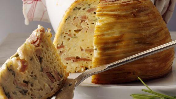 Rezept: Makkaronigratin mit Schinken und Käse
