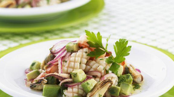 Rezept: Meeresfrüchtesalat mit Avocado