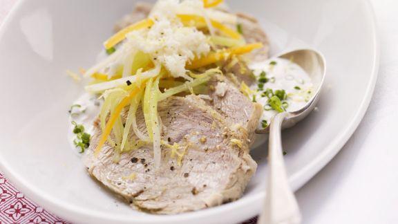 Rezept: Meerrettichfleisch mit Gemüse und Schnittlauch-Dip