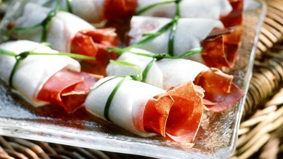 Rezept: Melonenröllchen mit Bündnerfleisch