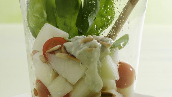Rezept: Melonensalat mit Tomaten, Spinat und Gorgonzola